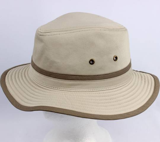 Rugged cotton twill fedora stone w light khaki band and trim Style: HS/7515