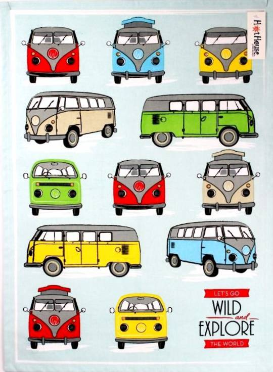 Campervan tea towel 'Let's go wild and explore the world' Code: T/T-CAM