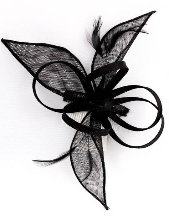 Fascinator sinamay with comb black Style: HS/1169