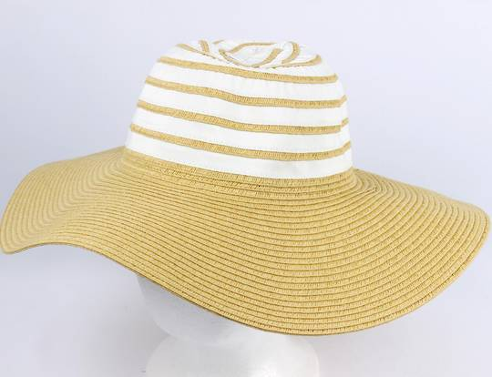Wide brim 2 tone braid hat natural/white Style: HS/1662