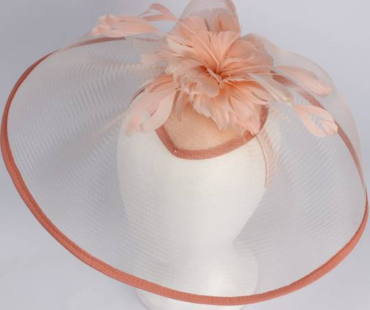 Hatinator with feathers and 6 inch crinoline brim blush Style: HS/1350