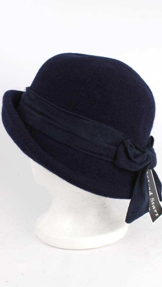 Headstart wool mix cloche w upturn front, band and bow navy/black Style : HS/1413