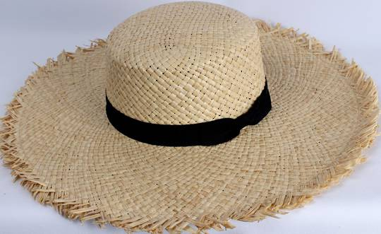 HEAD START  wide brim frayed edge raffia sunhat w black band and bow  Style: HS/1422/NAT