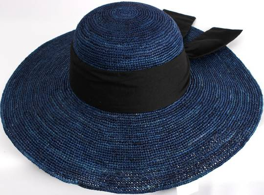 HEAD START classic wide brim  raffia sunhat w wide black band and bow  Style: HS/1424/BLUE