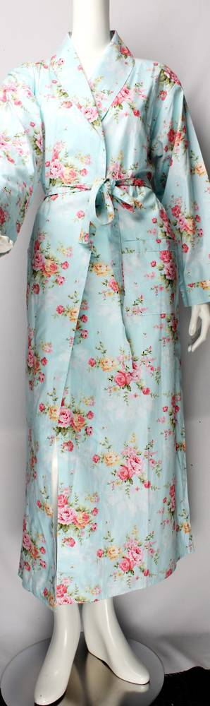 Cotton floral robe w floral ankle length pink Style : AL/ND-211PNK