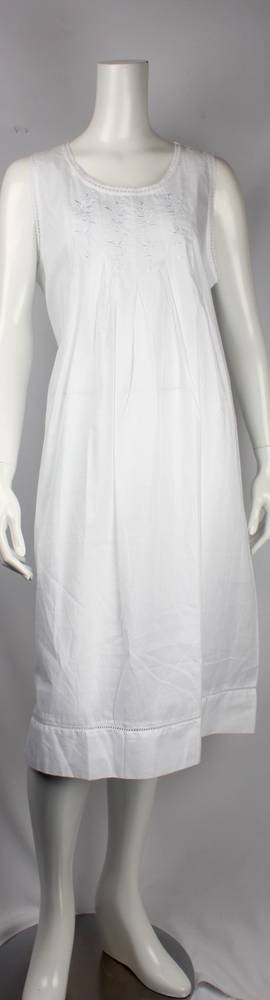 Cotton  sleeveless embroidered nightie. lace trim neck and sleeves with tucks  Style: AL/ND244WHT
