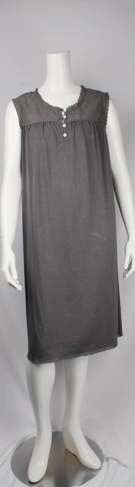 Bamboo Cotton  sleeveless nightie grey,ivory and black  Style: AL/ND-267GREY