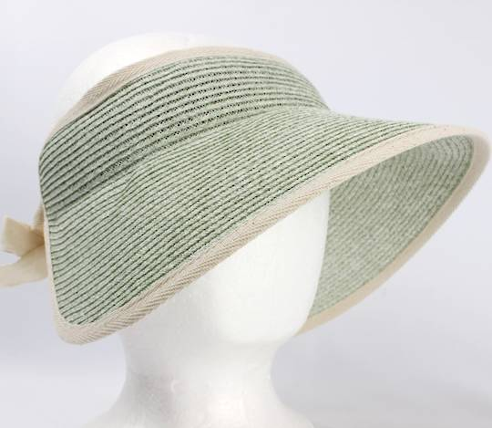 Fine braid visor w fabric trim elastic/bow tie Lt green Style:HS/9118