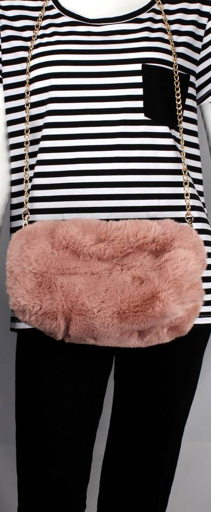 Alice & Lily fur muff/hand bag w gold shoulder chain blush STYLE: AL/4412FB/BLUSH