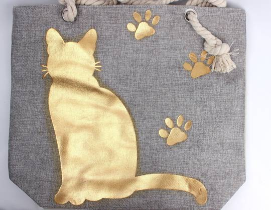 Carry bag w bold gold printed cat and paws  Style :AL/4486