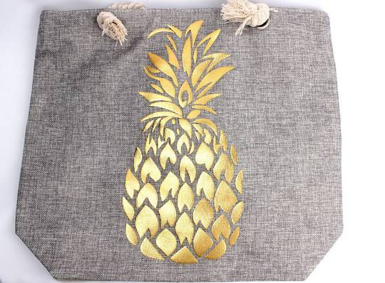 Carry bag w bold golden printed pineapple  Style :AL/4487