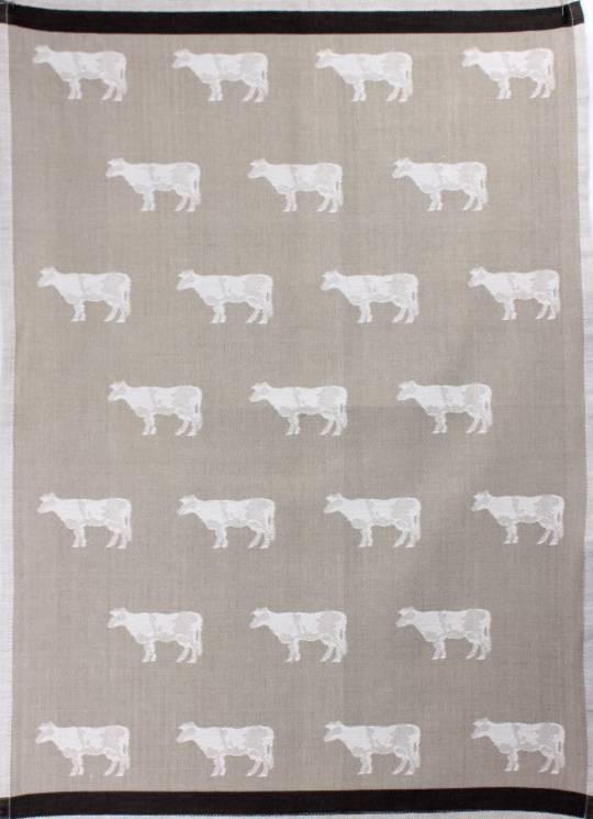 Tea Towel jacquard weave 'cow' Code:TT-JAC/COW/LINEN