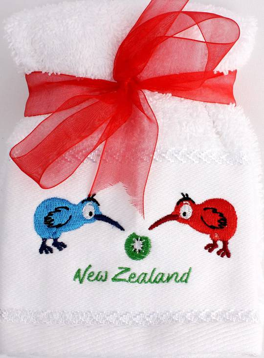 Matching Embroidered 2 facecloth gift set- Bright Kiwi Code: FAC-BK/2SET Nov delivery