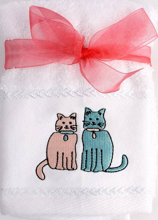 Matching Embroidered 2 facecloth gift set- Cat Code: FAC-CAT/2SET Nov delivery