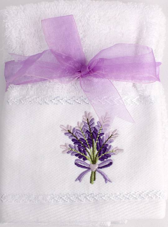 Matching Embroidered 2 facecloth gift set - Lavender Code: FAC-LAV/2SET Nov delivery