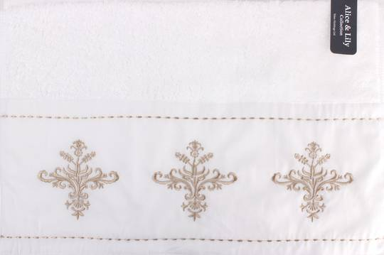 Embroidered cotton hand towel 'Florence white' Code: HT-FLO/WHT