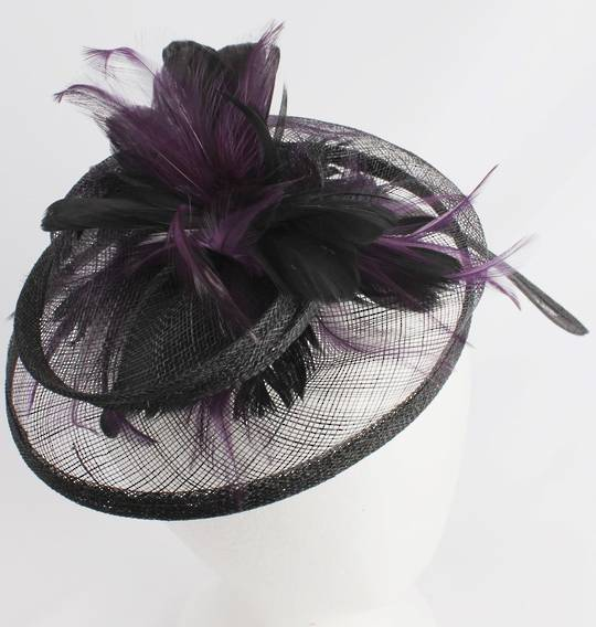 Hatinator in sinamay and feathers w curved extended base, band,  black with a touch of purple. Style: HS/3003/PPLE - arrives Aug