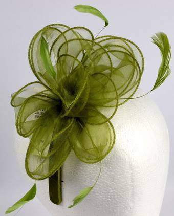 Organza fascinator with flowers lime Code:HS/1248