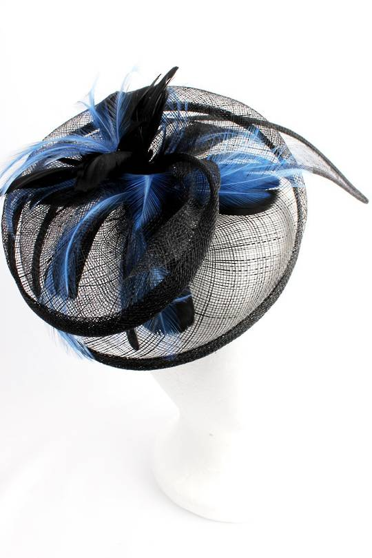 Hatinator in sinamay w blk and blue feathers, a curved extended base, band, black Style: HS/3003/BLK- arrives Aug