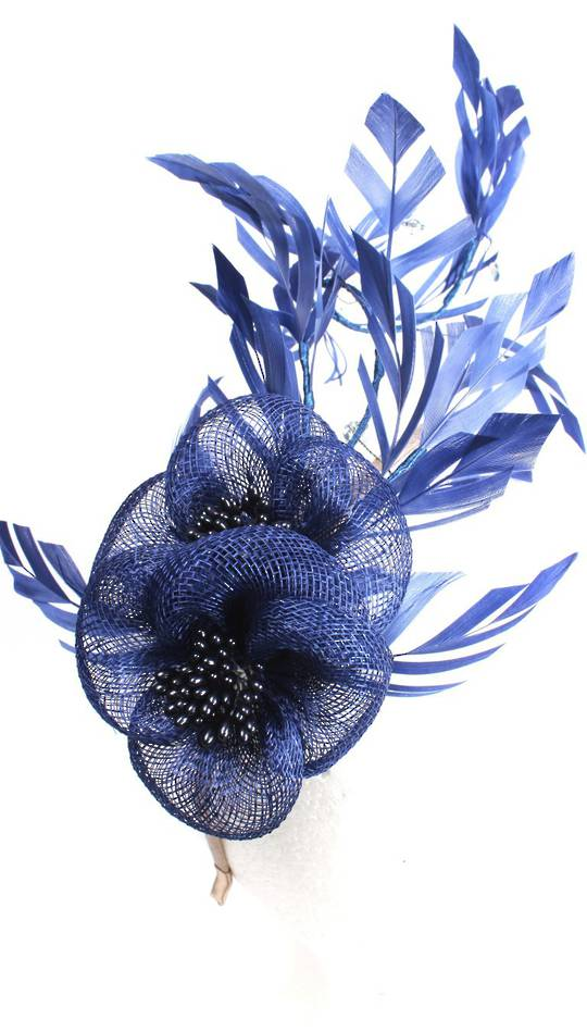 Branch fascinator w sinamay flower and feathered leaves blue STYLE: HS/3010/BLU-