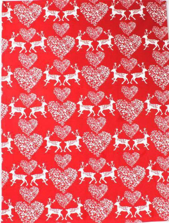 Tea towel Christmas hearts red Code:T/T-CH/HEA