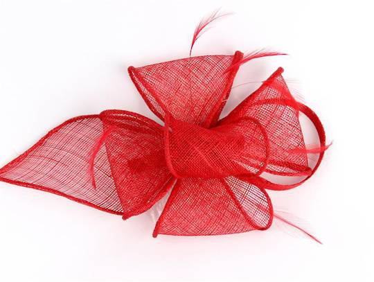 Fascinator sinamay and feather with comb red Code:HS/1299