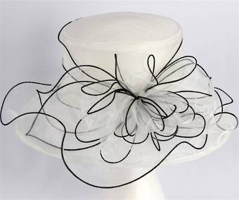 Organza fashion hat ivory Code:HS/1219