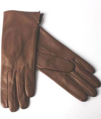 Italian Leather ladies glove with silk lining Havana Code-S/LL2394S