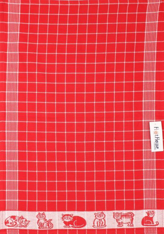 Tea Towel jacquard red Code: TT-JAC/CAT/RED  CLEARANCE$2.50ea