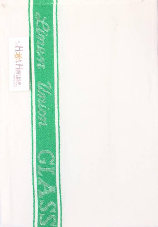 Tea Towel linen union glass cloth 50/50 linen/cotton -herringbone weave green Code: T/T-LIN/GLA/GRN