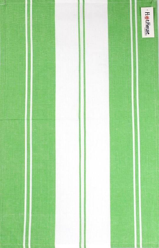 Tea towel 'Newport stripe' green Code: T/T- NEW/STR/GRN