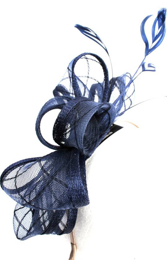 Fascinator w gorgeous sinamay bow and feathers. In elegant NAVY Style : HS3012/NVY