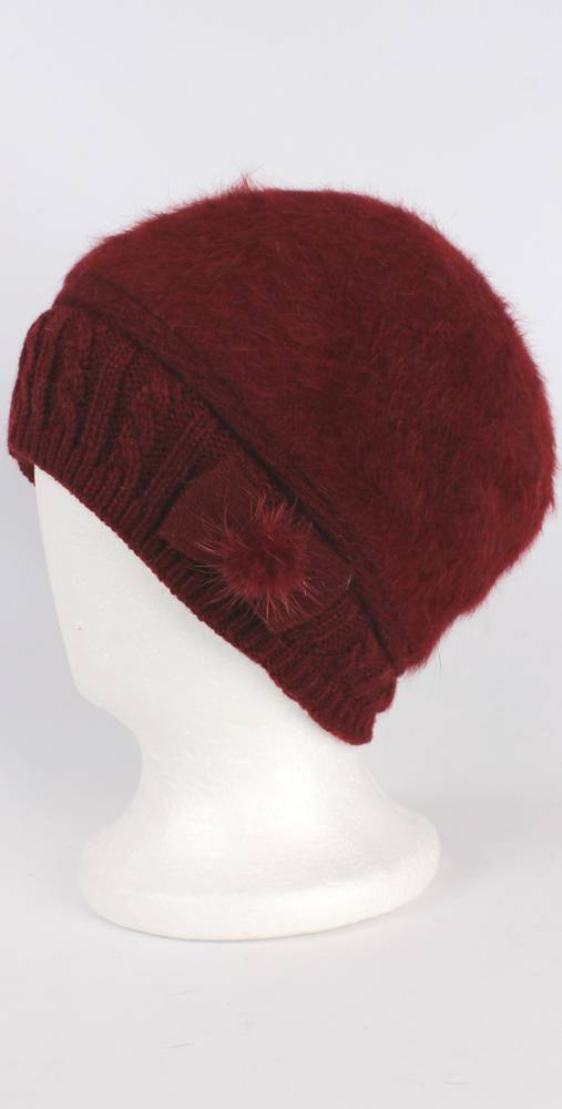 Headstart angora beanie thermal lined w knitted band and bow berry Style:HS/4398