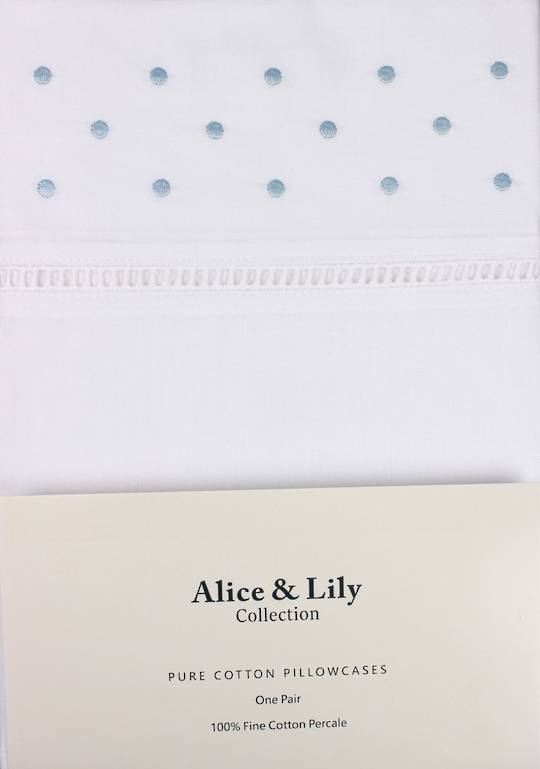 Alice & Lily pure cotton pillowcases one pair WHITE DOT Code: EPC-DOT/WHT