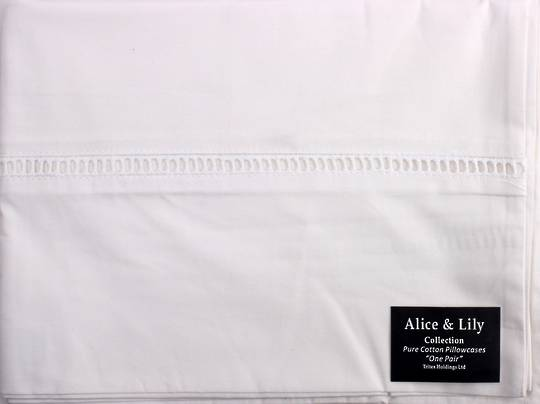 Pure cotton  pillowcases ONE PAIR 'Hem stitched' Code: EPC/HEM/WHI