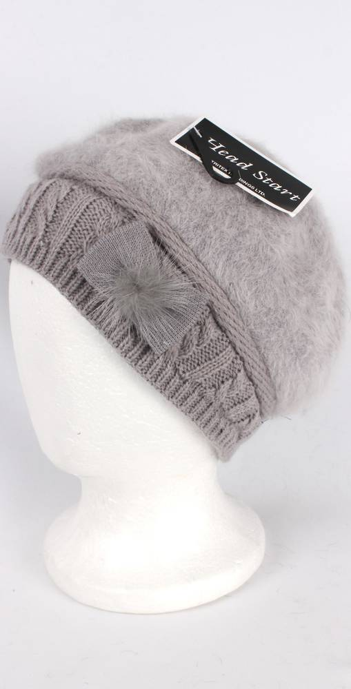 Headstart angora beanie thermal lined w knitted band and bow grey Style:HS/4398