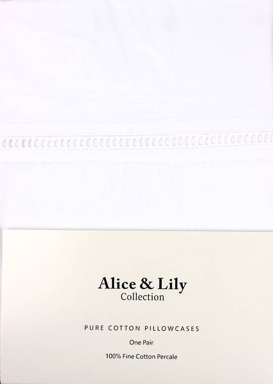 Alice & Lily pure cotton pillowcases one pair Code: EPC-HEM/WHT - ARRIVING APRIL 2020