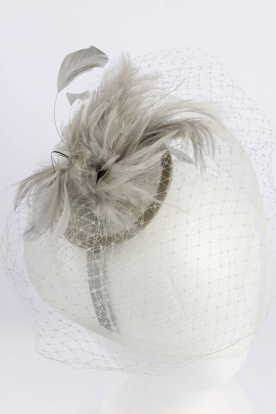 Hatinator with feathers and  crinoline brim with net Silver,Black Style: HS/1351