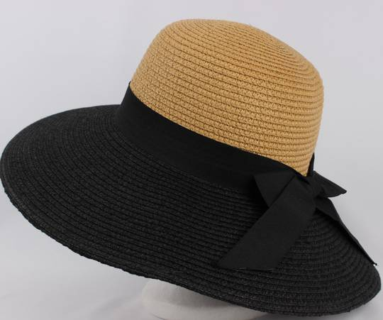 Braided hat w upturn/downturn option w blk bow nat/black Style: HS/4225