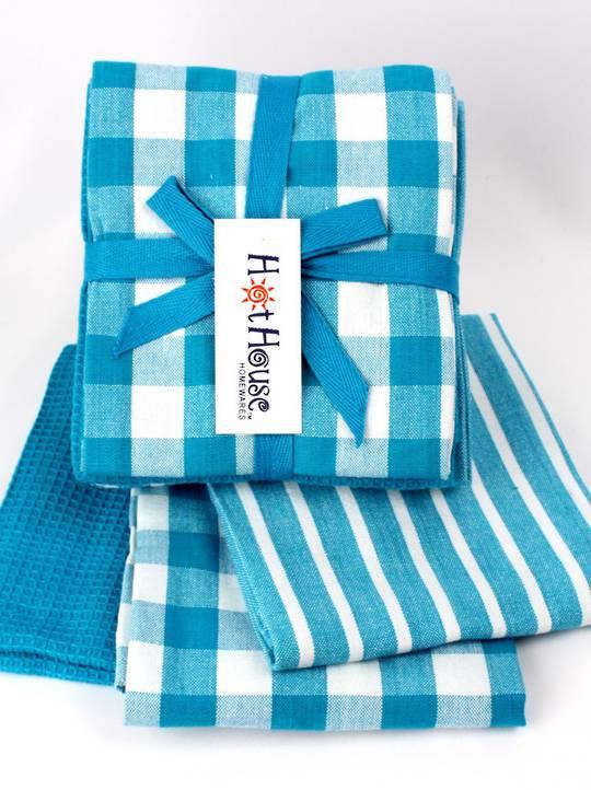 THREE PACK-Tea towel 'Nevada' 3pack teal multi Code: T/T-NEV/3PK/TEA