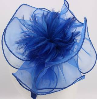 Fascinator w sinamay, organza and feathers Cobolt,Silver,Blk,Navy. HS/1324