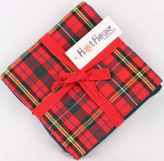 THREE PACK-Tea towel 'Christmas Tartan' red Code: T/T-TAR/3PK/RED