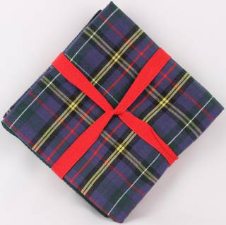 THREE PACK-Tea towel 'Christmas Tartan' navy Code: T/T-TAR/3PK/NAC