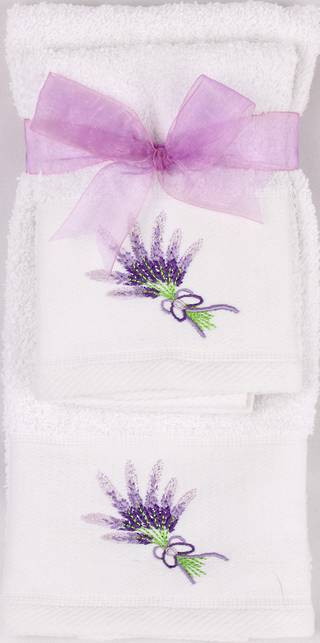 Matching Embroidered Handtowel and facecloth gift set- lavender Code: FH-LAV