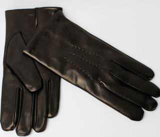 Mens Italian leather wool lined gloves black Style:S/ML2371W