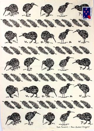 Tea towel NZ kiwi natural Code: S705 NZ KIWI