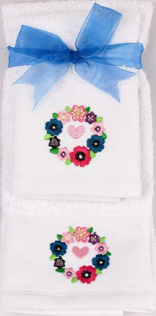 Matching Embroidered Handtowel and facecloth gift set- floral Code: FH-FLO