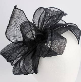 Flower shaped sinamay fascinator on  band Coral, Ivory (Blk S/O) Style: HS/1327