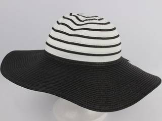 Wide brim 2 tone braid hat b/w Style: HS/1662