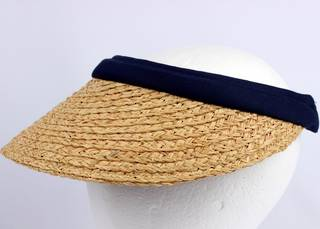 Raffia visor w cotton headbands navy HS/1333
